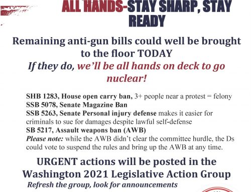 EAOD-16: URGENT: REMAINING ANTI-GUN BILLS COULD BE VOTED ON TODAY!